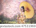 portrait of asian woman wearing Kimono & umbrella 47531969
