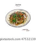 Japchae, Korea Food. Hand draw sketch vector. 47532139