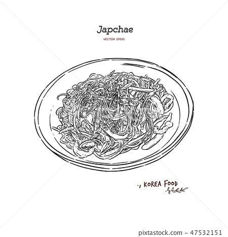 Japchae, Korea Food. Hand draw sketch vector. 47532151
