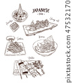 Set of Japanese food, Hand draw sketch vector. 47532170