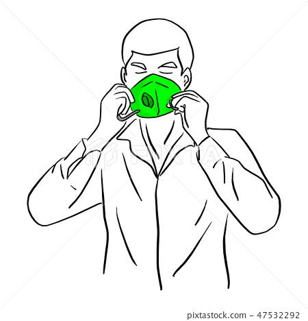 man wearing green mask vector illustration 47532292