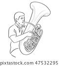 man playing Tuba vector illustration sketch  47532295