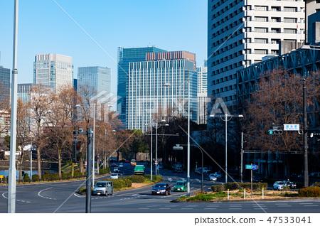 겨울 도쿄 국회 앞 사거리와 마루 노우치의 고층 빌딩 군 2019.01 b-2 47533041