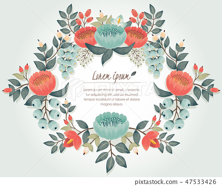 Vector illustration of a floral frame in spring 47533426