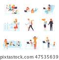 Collection of Parents Working with Their Children While Their Playing Next to Them, Mothers and 47535639