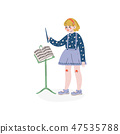 Conductor Directing with Her Baton, Hobby, Education, Creative Child Development Vector Illustration 47535788