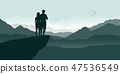 young couple on a cliff enjoy the mountain view 47536549