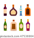 Set of glossy icons of bottles with alcohol 47536904