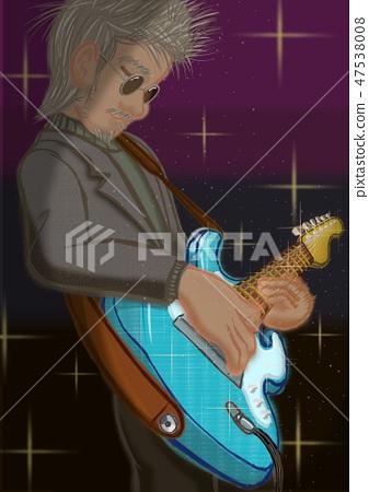 은발 기타리스트 스트라토 제자 없음 배경 있습니다 명소가 오렌지 필터 47538008