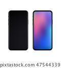 Realistic slim black smartphones 47544339