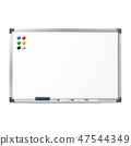 Blank magnetic dry erase whiteboard 47544349