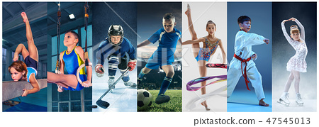 ice hockey sport players in action, business comptetition concpet, teen girls on training 47545013
