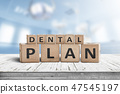 Dental plan sign with a blue room in background 47545197