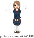 Young student girl standing in school uniform 47545480