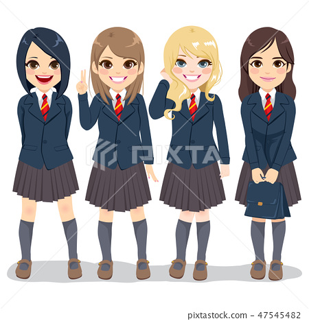 Cute teenager student girls standing together 47545482