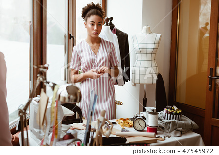 Young Fashion Designer At Workplace African Stock Photo 47545972 Pixta