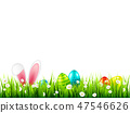 Easter eggs on grass with bunny rabbit ears set. Spring holidays in April. Sunday seasonal 47546626