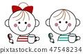 칫솔질하는 어린이 ① (레드 & 미도리) 47548234