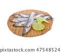 whole round fresh shishamo fish on bamboo mat 47548524