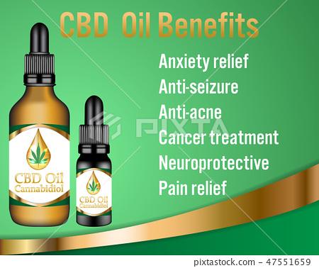CBD oil Cannabidiol products Benefits background. 47551659