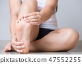 Closeup young woman feeling pain in her foot 47552255