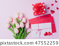 Valentines day and love concept. Pink tulips 47552259