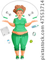 Fat woman is going to lose weight. Fitness life 47553714