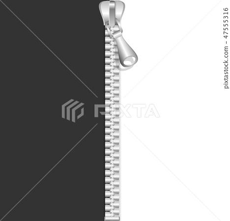 Realistic 3d Detailed Shiny Metal Zip Close. Vector 47555316