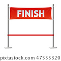 Realistic 3d Detailed Red Ribbon in Finishing Line. Vector 47555320