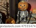 Halloween of pumpkin on the orange Lawn 47555474