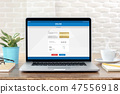 Laptop with electronic internet banking on screen  47556918