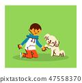 สุนัขและเด็กชายกำลังกุมมือของคุณ 47558370