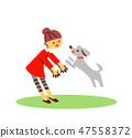 เด็กผู้หญิงเล่นกับสุนัข 2 47558372