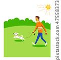 ผู้ชายกำลังเดินกับสุนัข 47558373