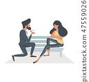 A Man proposing  a woman sitting bench 47559026