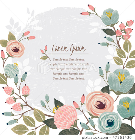 Vector illustration of a floral frame in spring 47561430