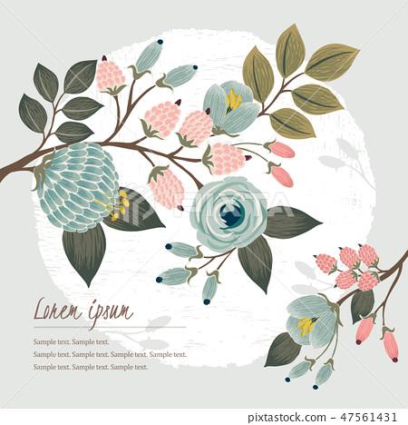 Vector illustration of a floral frame in spring 47561431