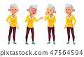 Asian Old Woman Poses Set Vector. Elderly People. Senior Person. Aged. Active Grandparent. Joy. Web 47564594