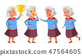 Asian Old Woman Poses Set Vector. Elderly People. Senior Person. Aged. Positive Pensioner 47564605