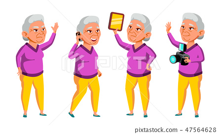 Asian Old Woman Poses Set Vector. Elderly People. Senior Person. Aged. Funny Pensioner. Leisure 47564628