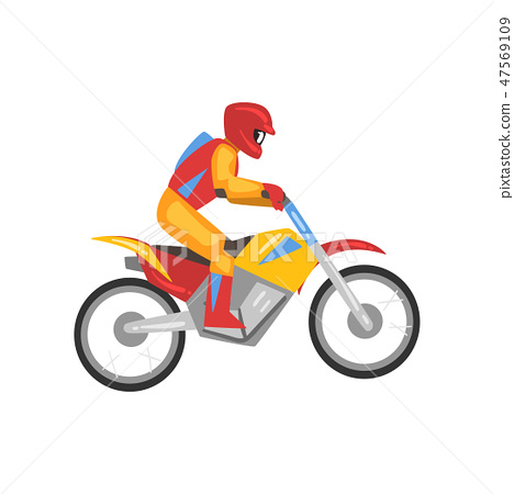 Man Riding Motorbike, Motorcyclist Male Character Side View, Motocross Racing Vector Illustration 47569109