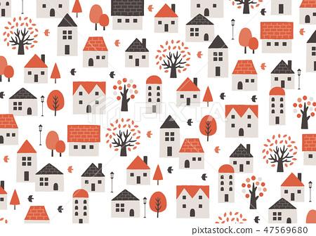 房子和樹紅色和黑色 47569680