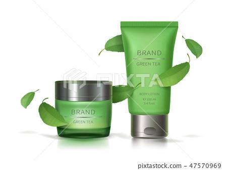 Green glass jar and plastic tube 47570969