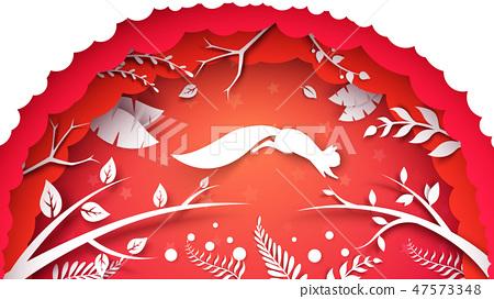 Paper cartoon landscape. Squirrel illustration. 47573348
