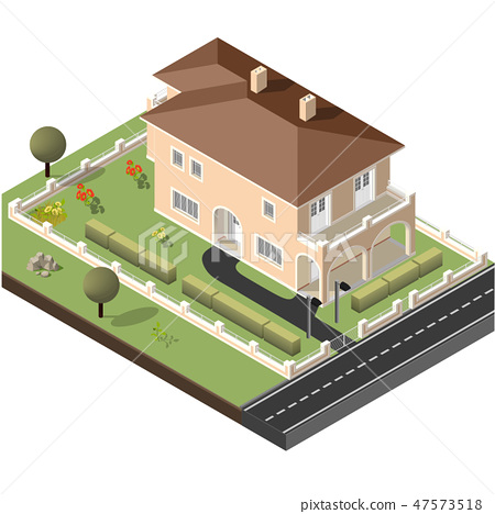 Cottage Isometric Vector 47573518