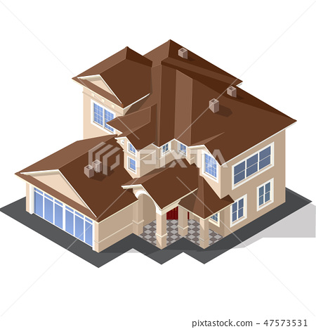 Cottage Isometric Vector 47573531