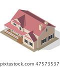Cottage Isometric Vector 47573537