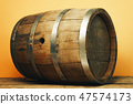 Wooden barrel and worn old table of wood. 47574173