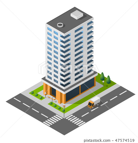 Isometric icon town apartment building  47574519