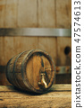 Wooden barrel with tap and worn old table of wood. 47574613